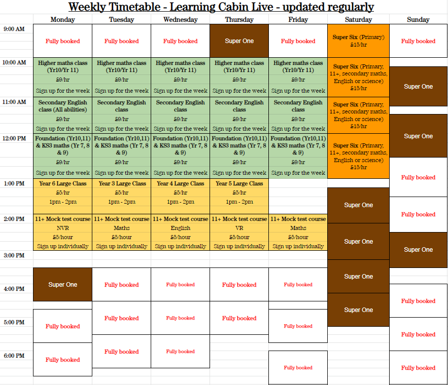 Timetable for online classes